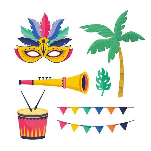 Set carnaval viering objecten