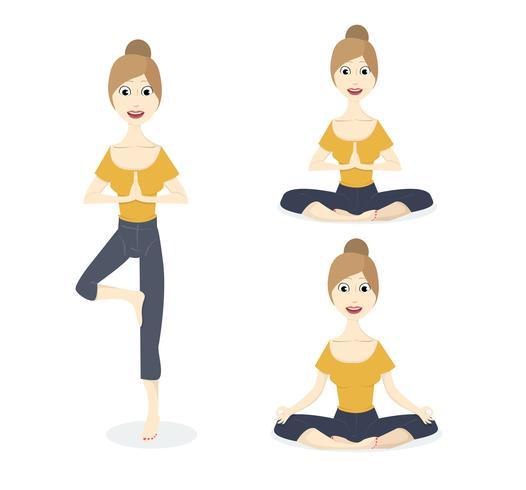 Conjunto de posturas de yoga vector