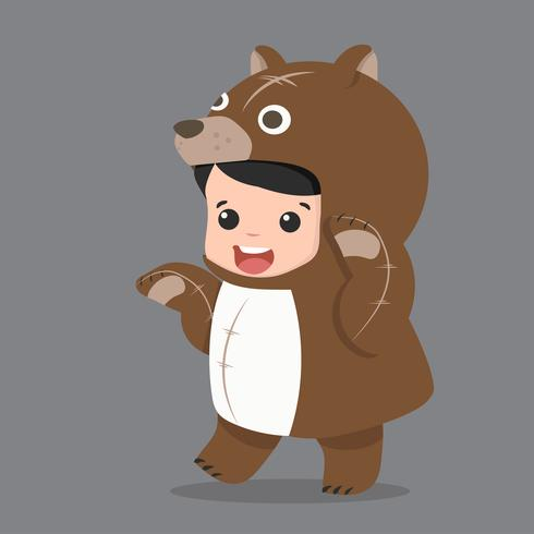 little kid characters in bear costume vector