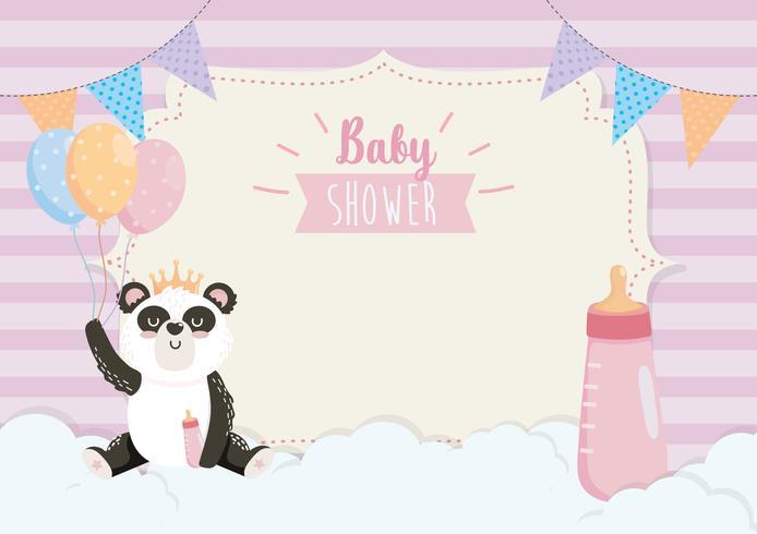 Scheda dell'acquazzone di bambino con il panda con la bottiglia