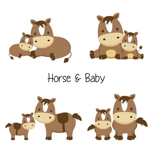 Set of mom and baby horse in different poses in cartoon style. vector