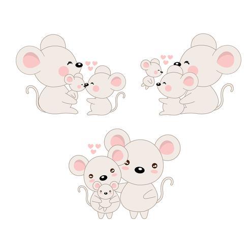 Rato de família bonito dos desenhos animados e bebê.