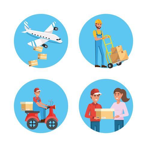 Conjunto de entrega de paquetes y elementos de servicio.