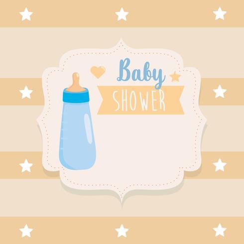 Etiqueta de baby shower con biberón y rayas amarillas vector