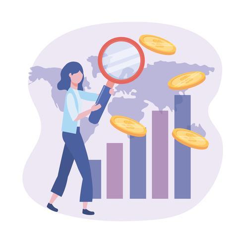 Donna di affari con la lente d'ingrandimento e le monete