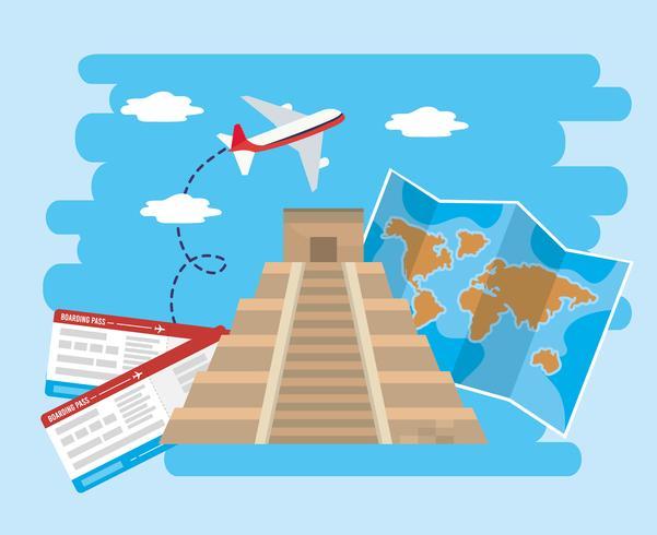 Tempel der Inschrift mit Flugzeug mit Tickets und Karte