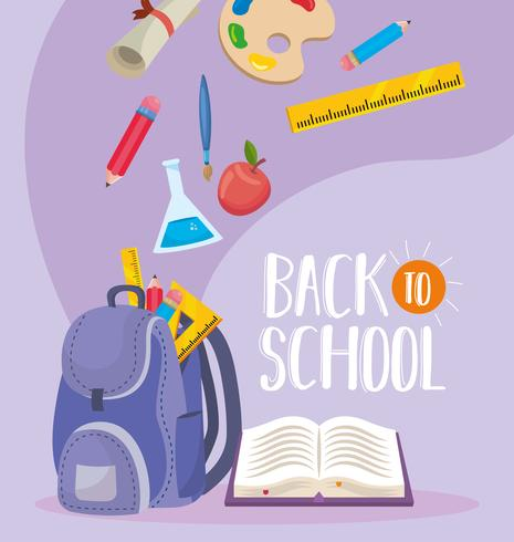 Back to school message with backpack and supplies