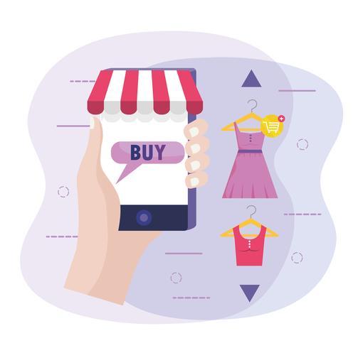 Mano que sostiene el teléfono inteligente con tienda minorista en línea con ropa