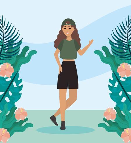 Meisje met hoed en vrijetijdskleding in park