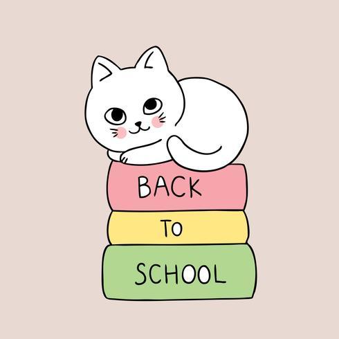 ritorno a scuola gatto e libro
