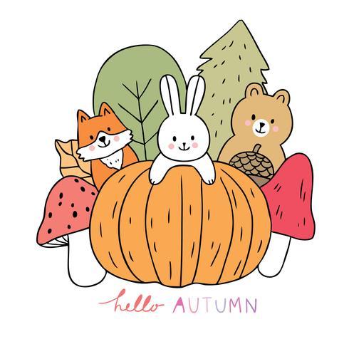 Outono, Fox e coelho e urso e abóbora e cogumelo