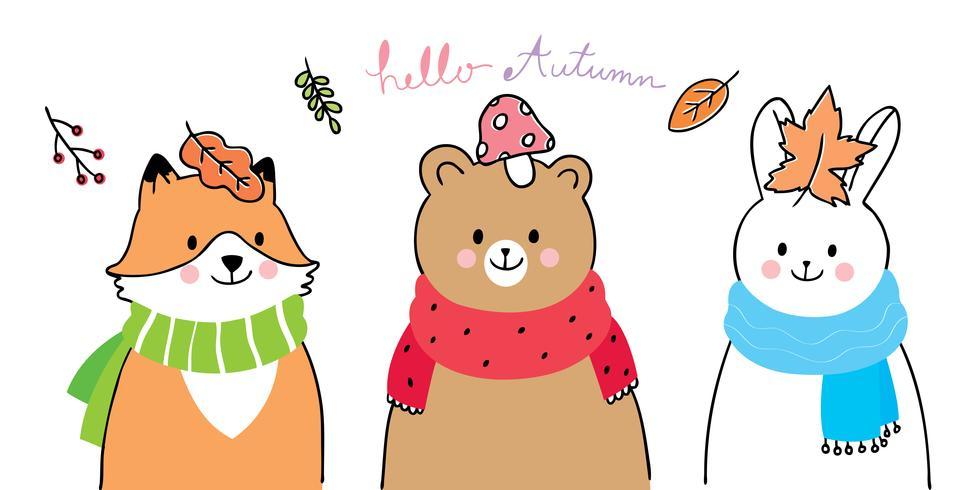 fox , bear and rabbit hello autumn