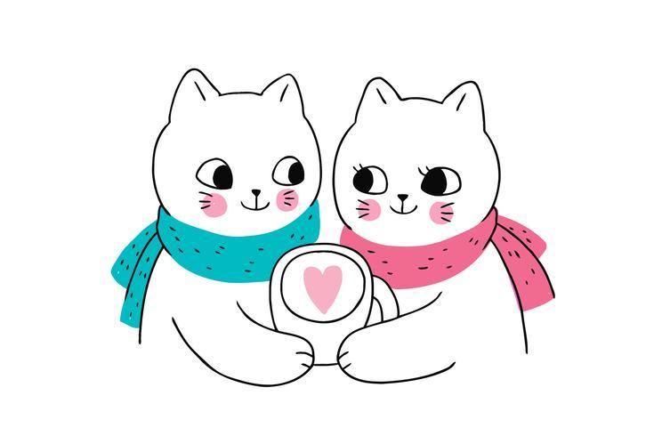 couple de chats d'hiver et tasse à café