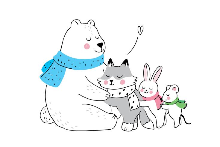 winter Polar bear hugging fox and rabbit and mouse