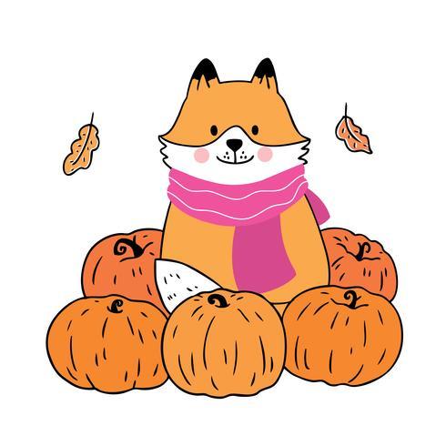 Herbst, Fuchs und Kürbisse