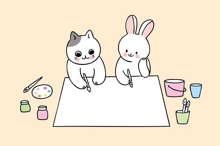 regreso a la escuela gato y conejo en clase de arte