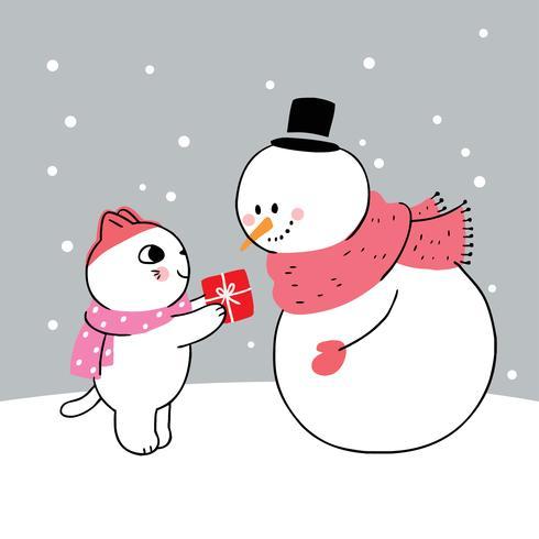 katt som ger snögubben en gåva
