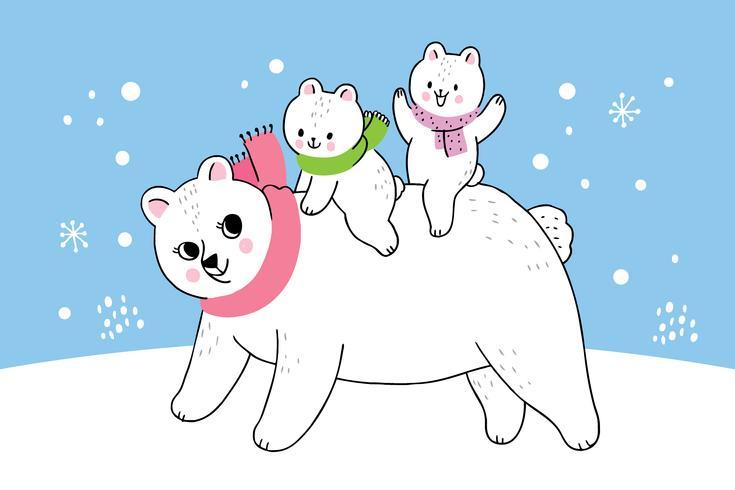 inverno madre e bambino orso polare