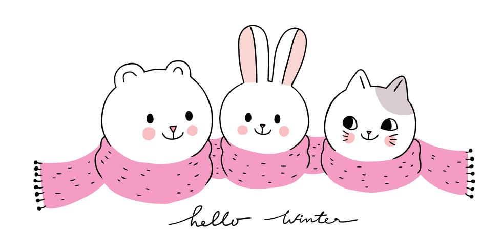 hiver, ours polaire et lapin et chat