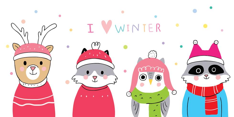 winter, Deer and fox and owl and raccoon