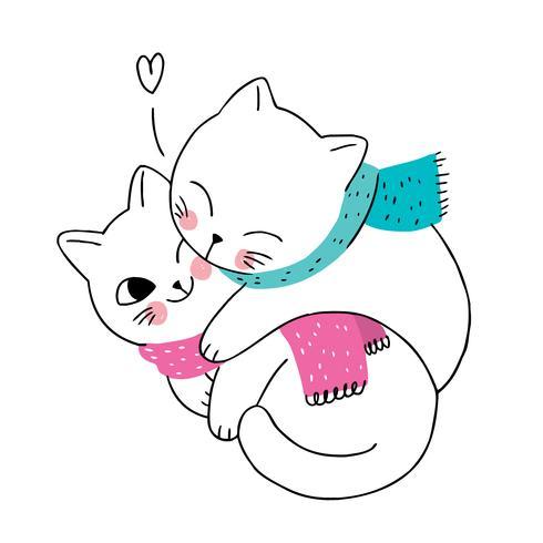 winter katten paar en sjaal