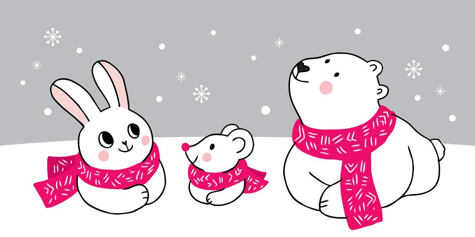 Rabbit and mouse and Polar bear