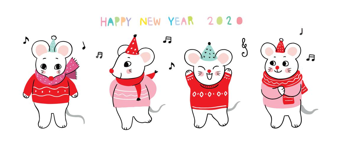 new year 2020 mouse dancing
