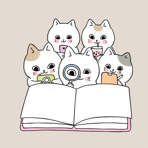 libro de lectura de gatos de regreso a la escuela