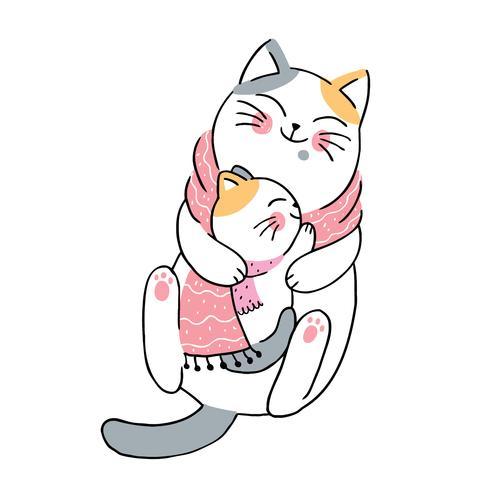 winter moeder en baby katten