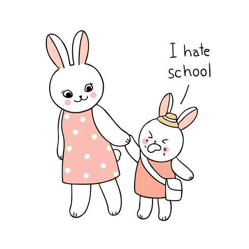 terug naar school moeder en baby konijn lopen naar school