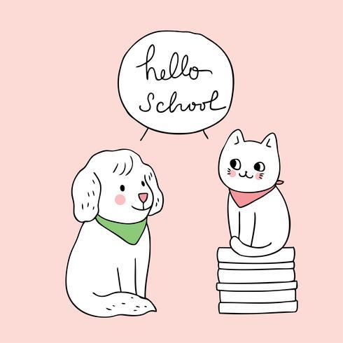 volta para escola gato e cachorro