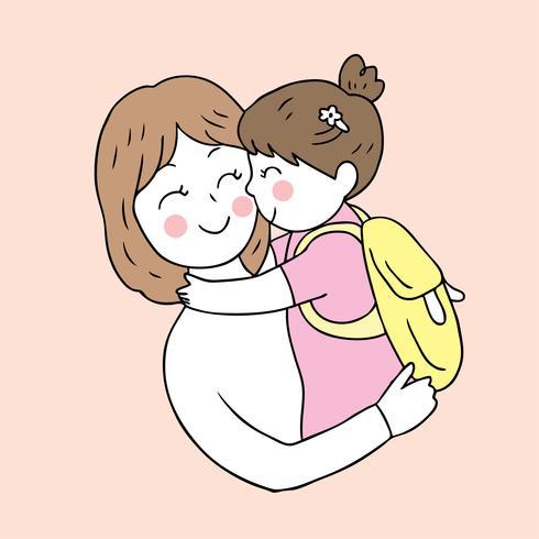 madre e hija besos de regreso a la escuela vector