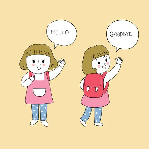 studentenmeisje zegt hallo en tot ziens