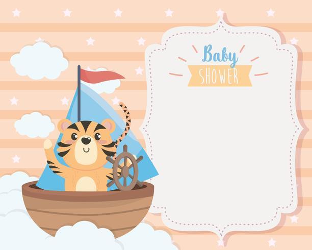Carte de naissance avec tigre en bateau vecteur