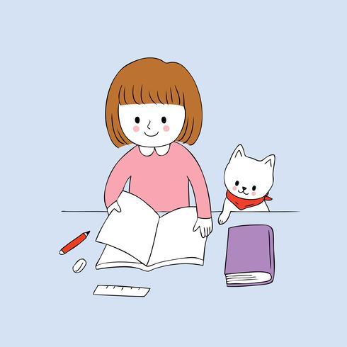 kleines Mädchen, ein Buch und eine Katze zu lesen