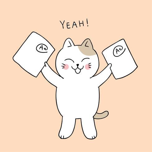 Zurück in die Schule Katze glücklich