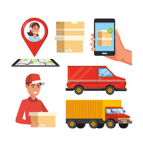Set of delivery service objects  vector
