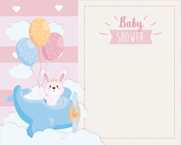Baby shower card with bunny in airplane holding balloons  vector