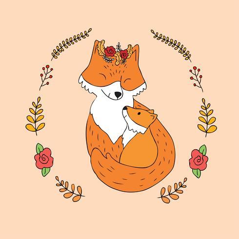 madre y bebé zorro rojo vector