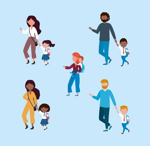 Set of mothers and fathers taking kids to