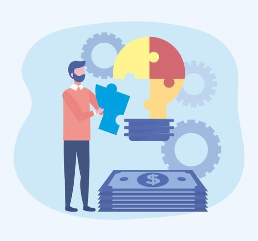 Homme d'affaires avec ampoule de puzzle idée avec de l'argent