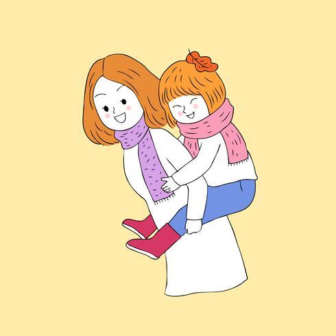 Otoño madre e hija vector