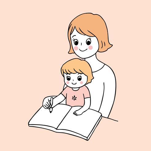 retour à l'école mère et enfant écrit