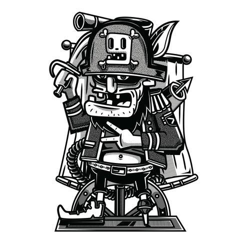 illustration de tshirt pirate illustration noir et blanc vecteur