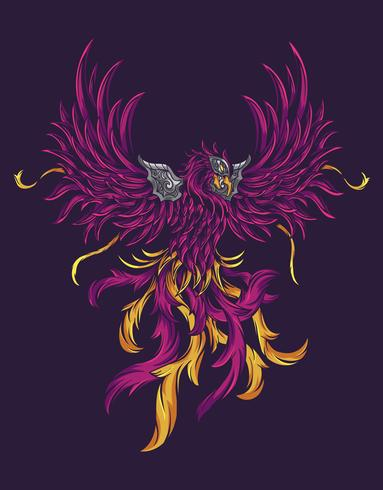 ilustração roxa pheonix vetor