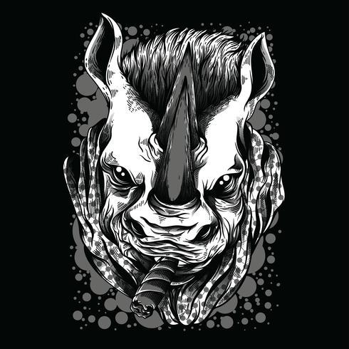 black and white rhino illustration tshirt design