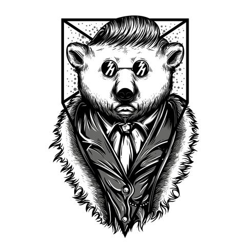 swag animal  black and white illustration tshirt design