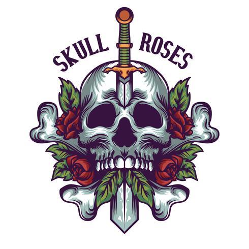 Ilustración de calavera y rosas