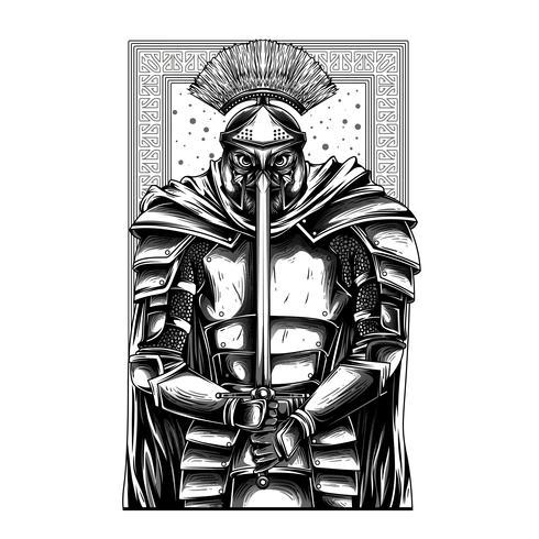 diseño de camiseta de ilustración en blanco y negro espartano vector
