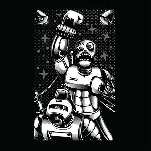 diseño de camiseta de ilustración en blanco y negro de luchador vector
